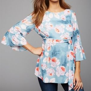 S A Pea in the Pod Floral Waist Sash Maternity Top
